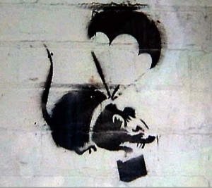Parachute Rat by Banksy - before its destruction by the Local Authorities